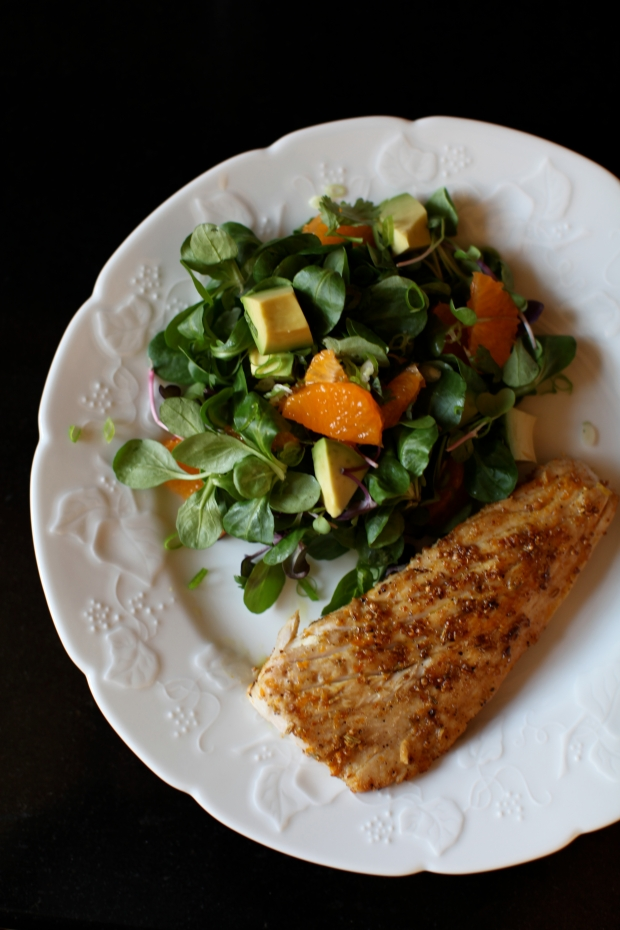 Seared Tuna, Salad with Clementines and Avocado